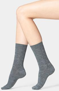 Women's  'Cable II' Crew Socks, Size Medium - Grey