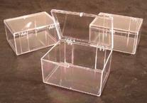 Lot of 3 Crystal Clear Hinged Plastic Trading Card Storage
