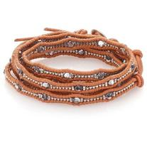 Chan Luu Crystal & Leather Multi-Row Beaded Wrap Bracelet