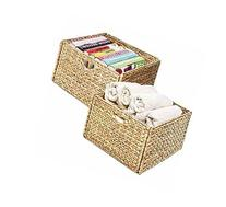 2 Pack Cube Basket Made with Woven Water Hyacinth - Set of 2