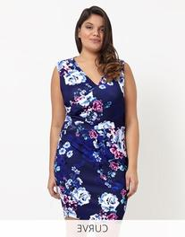 Lipsy Curve Wrap Floral Printed Bodycon Dress