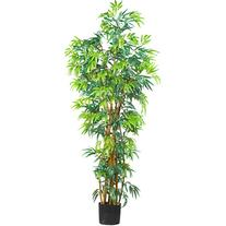 Nearly Natural 6' Curved Bamboo Silk Tree in Green