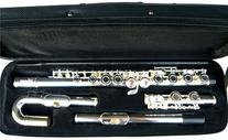New Curved&Straight Head Silver Concert Band C flute w/Case.