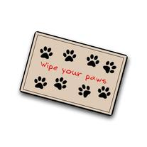 "Custom Welcome Doormats - Funny The Dog Footprints ""Wipe"