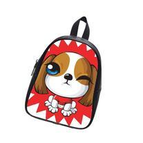 Custom Fashion Childrens Backpacks Cute Cartoon Dog PU