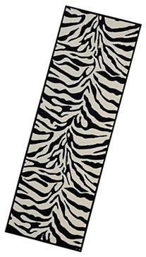 Custom Size Runner Black & Snow-White Non-Slip  Rubber Back
