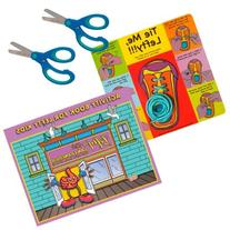 4 Pieces Cut, Tie and Color Set with Blue Scissors, Learn to