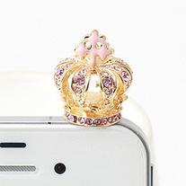 MobilePick Cute Design Bling Pink Golden Crown Anti Dust