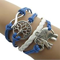 Tricess Cute Handmade Charms Tree Elephant Knit Leather Rope