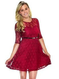 Simplicity Cute Lace Dress w/ Half Sleeves, Sheer Detail and