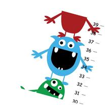 Cute Little Monsters Growth Chart for Kids Bedroom ,