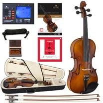 Cecilio CVN-300 Solidwood Ebony Fitted Violin with D'Addario