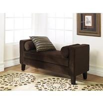 Office Star CVS20-C12 Curves Chocolate Velvet Bench with 2