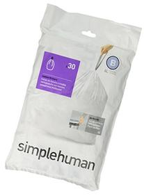 simplehuman CW0161 Code B Custom Fit 6L Trash Can Liners, 30