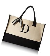 Mud Pie D-Initial Canvas Tote