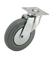 Revvo Caster D Series Plate Caster, Swivel, Rubber Wheel,