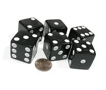 Set of 6 D6 25mm Large Opaque Jumbo Dice - Black with White
