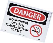 "NMC D673PB OSHA Sign, Legend ""DANGER - NO SMOKING OR OPEN"