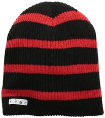 neff Men's Daily Stripe Beanie, Black/Red, One Size