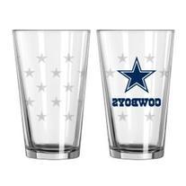 Dallas Cowboys NFL Satin Etch Pint Glass Set