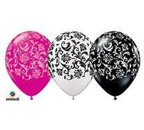 Damask Assortment Latex Balloons Qualatex 11-Inch 25 Per