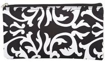 World Traveler Black White Damask Makeup Brush Bag 10-inch