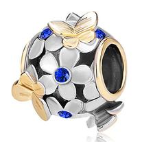 Pugster Dark Blue Birthstone Crystal Flower Golden Butterfly