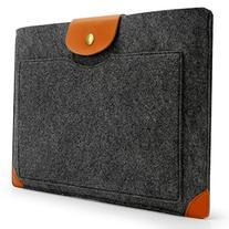 Sinoguo Dark Gray Felt & Leather Case Sleeve Pouch for