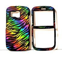 Dark Rainbow Zebra Rubberized Snap on Protective Cover Case