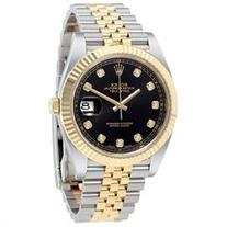 Rolex Datejust 41 Black Diamond Dial Stee and 18K Yellow