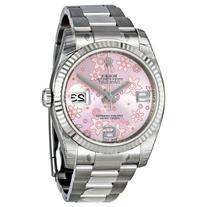 Rolex Datejust Automatic Pink Floral 18 kt White Gold Ladies