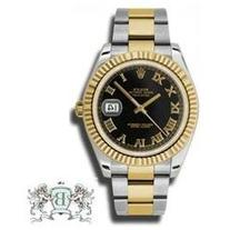 Rolex Datejust II Black Roman Dial 18k Yellow Gold Fluted
