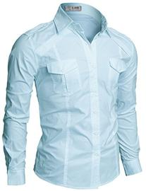 Doublju Mens Day-to-Night Button-Down 3/4 Sleeve Big Size