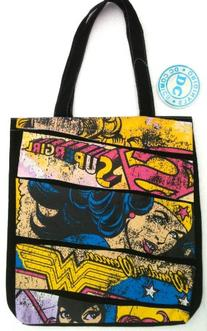 DC Comics SUPERGIRL & WONDER WOMAN Black Retro Distressed