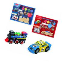 Melissa & Doug Decorate-Your-Own Wooden Train and Race Car