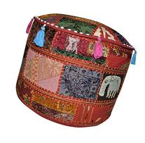 Decorative Entrance Patchwork Designer Embroidered Ottoman