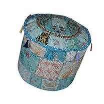 Decorative Patchwork Cotton Pouf Ottoman Floor Cushion Cover