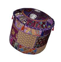 Decorative Patchwork Pouf Ottoman Round Footstool Cover 18 x
