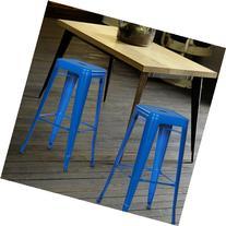 Adeco Deep Blue 30-inch Metal Bar Stools