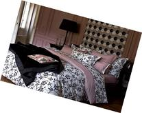 Yves Delorme Silhouette Poudre Black White Pink Queen Duvet