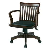 Office Star Deluxe Wood Bankers Desk Chair with Black Vinyl