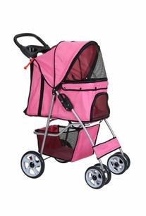 Confidence Deluxe Folding Four Wheel Pet Stroller Pink