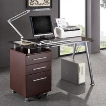 Deluxe Tempered Glass Top Ergonomic Computer Desk with Side