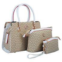 Deluxe Women 3 Piece Tote Bag Pu Leather Handbag Purse Bags