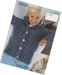 Sirdar Denim Sport Aran Knitting Pattern 4333 Jackets