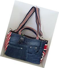 Infinity Denim Jean Top Handle Fabric Handbag Crossbody