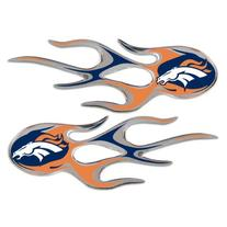 Denver Broncos NFL Micro Flames Auto Decal 2 Pack for Car