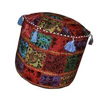 Designer Embroidered Patchwork Pouf Ottoman Cover 17 X 17 X