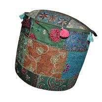 Designer Handmade Embroidered Patchwork Cotton Ottoman Cover