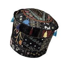 Designer Patchwork Cotton Round Ottoman Floor Cushion Cover